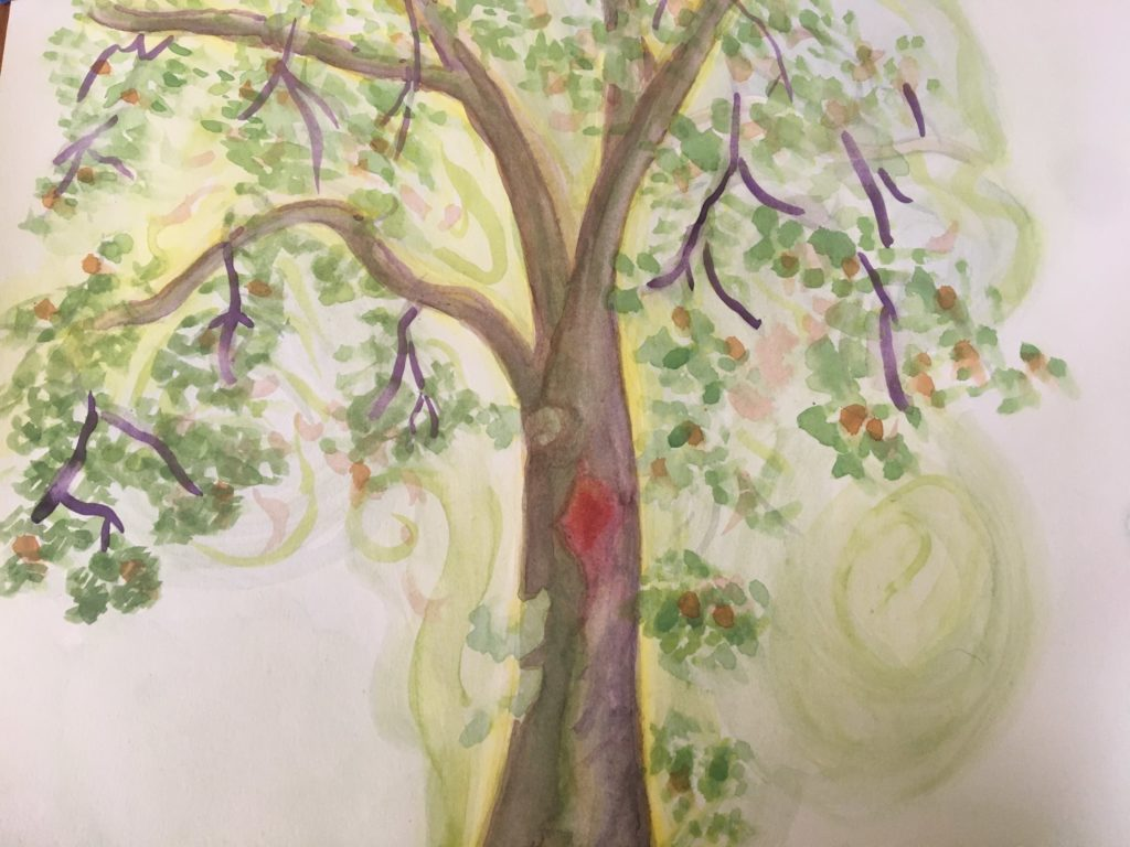 a watercolor of a tall brown tree with green leaves, red fruits, and purple pods abundantly streaming off of it. in the center of the tree trunk is a red hollow. swirls of light green fade into the background behind the tree.
